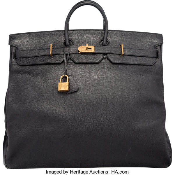 56662207a4e4 Luxury Accessories:Bags, Hermes 55cm Black Ardennes Leather HAC Birkin Bag  with GoldHardware.