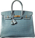 """Luxury Accessories:Bags, Hermes 35cm Shiny Blue Jean Porosus Crocodile Birkin Bag with GoldHardware. A Square, 1997. Condition: 4. 14""""Wid..."""