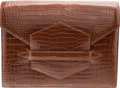 """Luxury Accessories:Bags, Hermes Shiny Miel Porosus Crocodile Faco Clutch Bag with GoldHardware. B Square, 1998. Condition: 3. 9.5"""" Widthx..."""