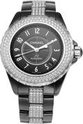 "Luxury Accessories:Accessories, Chanel 38mm Black Ceramic & Diamond Automatic J12 Watch.Condition: 2. 1.5"" Width x 7"" Length. ..."