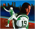 Football Collectibles:Others, Keyshawn Johnson Signed Original Artwork and Jeremy Shockey Signed Poster....