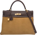 Luxury Accessories:Bags, Hermes Limited Edition 35cm Ebene Evercalf Leather & Tabac Camel Ponyhair Troika Kelly Bag with Gold Hardware. K Square, 2...