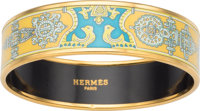 """Hermes 60mm Yellow Narrow Printed Enamel Bracelet with Gold Hardware Condition: 2 0.5"""" Width x 7"""