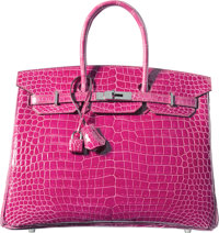 Hermes 35cm Shiny Fuchsia Porosus Crocodile Birkin Bag with Palladium Hardware P Square, 2012 Con