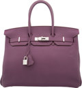 Luxury Accessories:Bags, Hermes 35cm Cassis Fjord Leather Birkin Bag with Palladium...