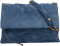 """Luxury Accessories:Bags, Lanvin Blue Suede Sugar Bag. Condition: 3. 11.5"""" Width x 8"""" Height x 3"""" Depth. ..."""