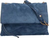 "Lanvin Blue Suede Sugar Bag Condition: 3 11.5"" Width x 8"" Height x 3"" Depth"