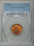 Lincoln Cents: , 1952-S 1C MS67 Red PCGS. PCGS Population: (182/0). NGC Census: (393/0). CDN: $175 Whsle. Bid for problem-free NGC/PCGS MS67...