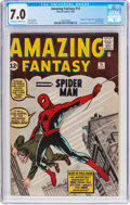 Silver Age (1956-1969):Superhero, Amazing Fantasy #15 (Marvel, 1962) CGC FN/VF 7.0 Off-white to white pages....