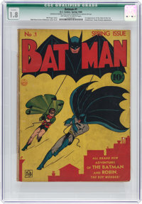 Batman #1 (DC, 1940) CGC Qualified GD- 1.8 Off-white to white pages