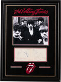 Miscellaneous Collectibles:General, 1965 Rolling Stones Signed Parchment Display with a Unique...