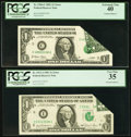 Error Notes:Foldovers, Printed Foldover Errors Fr. 1911-I $1 1981 Federal Reserve Note.PCGS Very Fine 35 and Fr. 1926-C $1 2001 Federal Reserve Note...(Total: 2 notes)