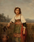 Fine Art - Painting, European, Eugénie Alexandrine Marie Salanson (French, 1836-1912). At theWell. Oil on canvas laid on panel. 18 x 15 inches (45.7 x...