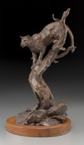 Fine Art - Sculpture, American, Clark Everice Bronson (American, b. 1939). Cougar Strategy,1972. Bronze with brown patina. 14-1/4 inches (36.2 cm) high...