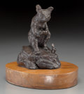 Fine Art - Sculpture, American, Clark Everice Bronson (American, b. 1939). Got a Nibble,1971. Bronze with brown patina. 4-1/2 inches (11.4 cm) high on ...