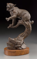 Fine Art - Sculpture, American, Clark Everice Bronson (American, b. 1939). Bobcat Fury,1979. Bronze with brown patina. 9-3/4 inches (24.8 cm) high on a...