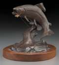 Fine Art - Sculpture, American:Contemporary (1950 to present), Clark Everice Bronson (American, b. 1939). Hooked, 1975.Bronze with brown patina. 6-3/4 inches (17.1 cm) high on a 1 in...