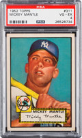 Baseball Cards:Singles (1950-1959), 1952 Topps Mickey Mantle #311 PSA VG-EX 4. ...