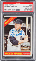 Autographs:Sports Cards, Signed 1966 Topps Mickey Mantle #50 PSA/DNA Gem Mint 10....