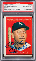 Autographs:Sports Cards, Signed 1961 Topps Mickey Mantle MVP #475 PSA/DNA Authentic....