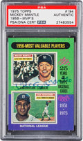Autographs:Sports Cards, Signed 1975 Topps 1956 MVP's (Mantle) #194 PSA/DNA Authentic....