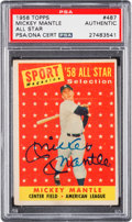 Autographs:Sports Cards, Signed 1958 Topps Mickey Mantle All Star #487 PSA/DNA Authentic....