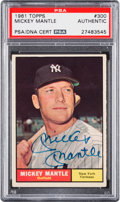 Autographs:Sports Cards, Signed 1961 Topps Mickey Mantle #300 PSA/DNA Authentic....