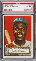Baseball Cards:Singles (1950-1959), 1952 Topps Jackie Robinson #312 PSA EX-MT 6....