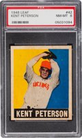 Baseball Cards:Singles (1940-1949), 1948 Leaf Kent Peterson (Red Cap) #42 PSA NM-MT 8 - Pop Two, NoneHigher. ...