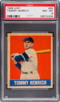 Baseball Cards:Singles (1940-1949), 1948 Leaf Tommy Henrich #55 PSA NM-MT 8 - None Higher. ...
