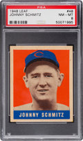 Baseball Cards:Singles (1940-1949), 1948 Leaf Johnny Schmitz #48 PSA NM-MT 8 - None Higher. ...