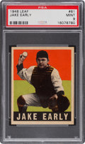 Baseball Cards:Singles (1940-1949), 1948 Leaf Jake Early #61 PSA Mint 9 - Pop Two, None Higher. ...