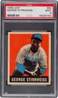 Baseball Cards:Singles (1940-1949), 1948 Leaf George Stirnweiss #95 PSA Mint 9 - Pop Five, None Higher....