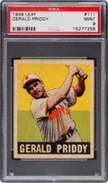 Baseball Cards:Singles (1940-1949), 1948 Leaf Gerald Priddy #111 PSA Mint 9 - Pop Three, None Higher....