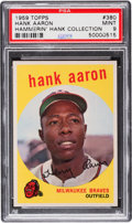 Baseball Cards:Singles (1950-1959), 1959 Topps Hank Aaron #380 PSA Mint 9 - Only One Higher....