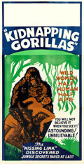 "Movie Posters:Exploitation, Love Life of a Gorilla (Jewel Productions, R-1940s). Three Sheet(41"" X 80"") Reissue Title: Kidnapping Gorillas.. ..."