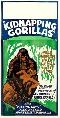 "Love Life of a Gorilla (Jewel Productions, R-1940s). Three Sheet (41"" X 80"") Reissue Title: Kidnapping Gorilla..."