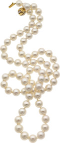 Estate Jewelry:Necklaces, South Sea Cultured Pearl, Diamond, Gold Necklace . ...