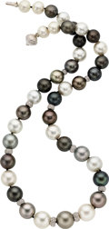 Estate Jewelry:Necklaces, South Sea Cultured Pearl, Diamond, White Gold Necklace . ...