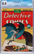 Golden Age (1938-1955):Superhero, Detective Comics #33 (DC, 1939) CGC VF 8.0 Cream to off-white pages....