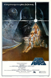 "Star Wars (20th Century Fox, 1977). First Printing One Sheet (27"" X 41"") No Ratings Box Style A, Tom Jung Artw..."
