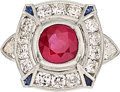 Estate Jewelry:Rings, Ruby, Diamond, Sapphire, White Gold Ring . ...