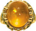 Estate Jewelry:Rings, Fire Opal, Tsavorite Garnet, Gold Ring, Paula Crevoshay. ...