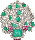 Estate Jewelry:Brooches - Pins, Emerald, Diamond, Ruby, Platinum Pendant-Brooch. ...