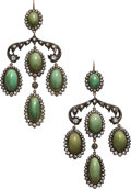 Estate Jewelry:Earrings, Turquoise, Diamond, Silver-Topped Gold Earrings. ...