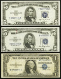 Error Notes:Error Group Lots, Misaligned Signatures Error Fr. 1614 $1 1935E Silver Certificate.Very Good.. Wet Paper Folds Error Fr. 1655 $5 1953 Silve... (Total:3 notes)
