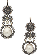 Estate Jewelry:Earrings, Antique Natural Pearl, Diamond, Silver-Topped Gold Earrings . ...