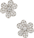 Estate Jewelry:Earrings, Diamond, White Gold Earrings, Van Cleef & Arpels, French. ...