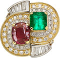 Estate Jewelry:Rings, Colombian Emerald, Ruby, Diamond, Platinum, Gold Ring. ...