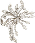 Estate Jewelry:Brooches - Pins, Diamond, Platinum Clip-Brooch . ...